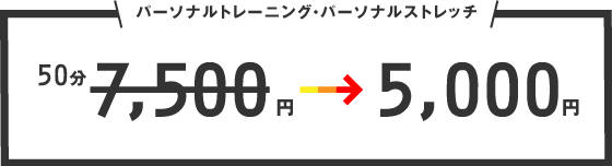 パーソナルトレーニング・パーソナルストレッチが50分7000円→5000円に!